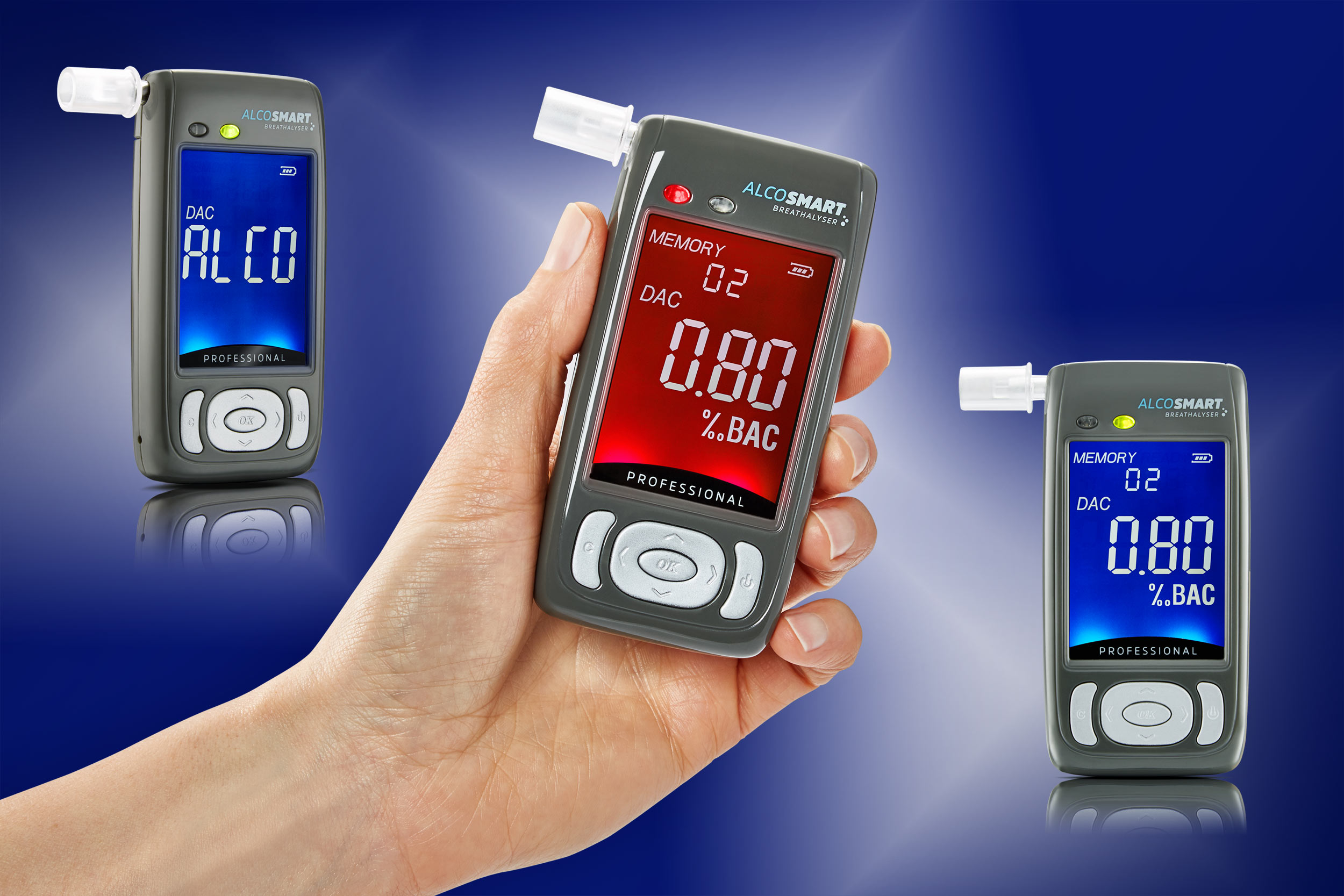 Product photography - handheld breathalyser on blue background