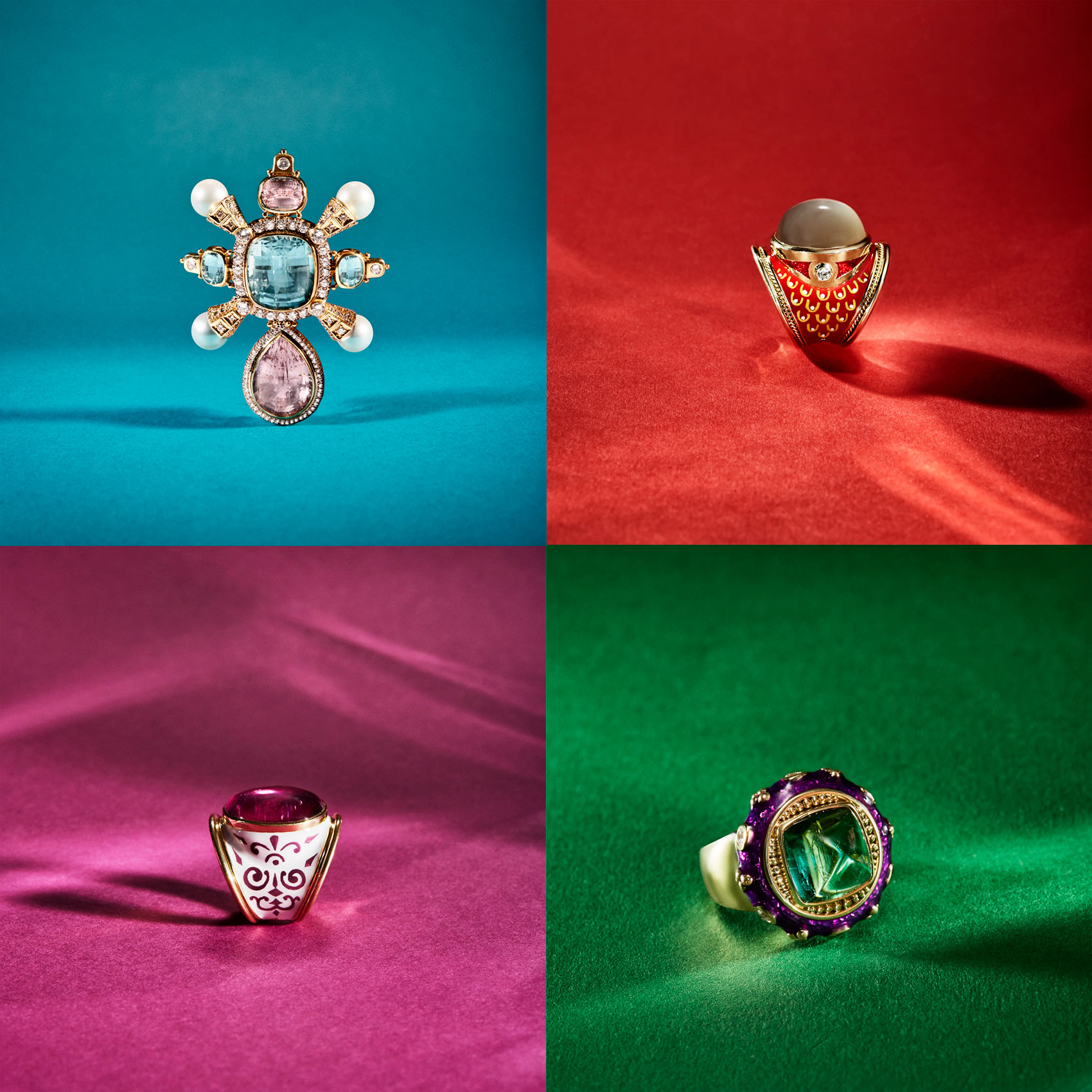 Jewelery  photographer - 4 pieces of exquisitely designed and hand rings with diamonds and precious stones.  Studio photography for designer jewellery business