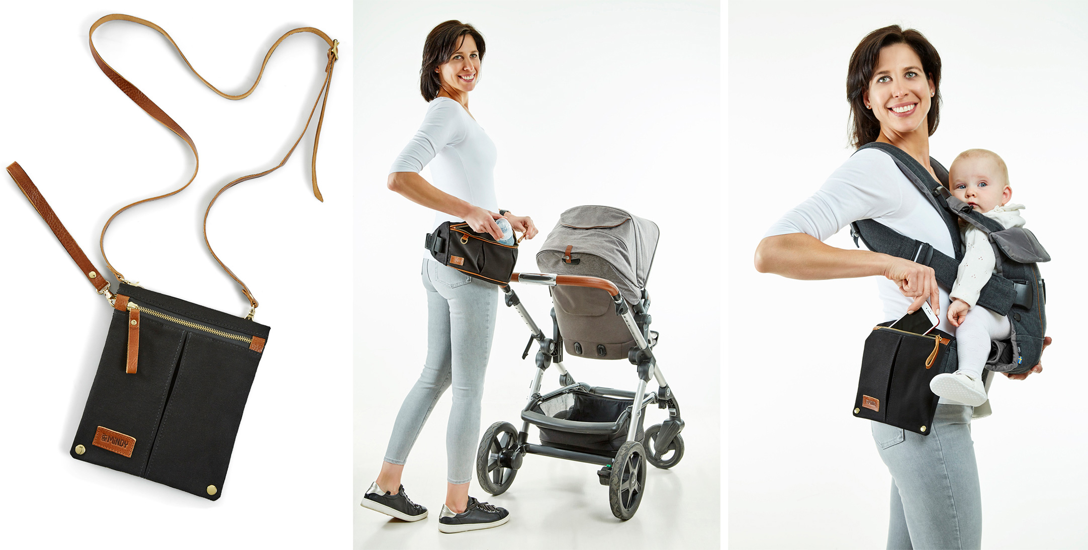 Lifestyle photography in the studio - woman wearing baby products handbag pushing pushchair.  Images used for product Marketing and advertising. Surrey, UK