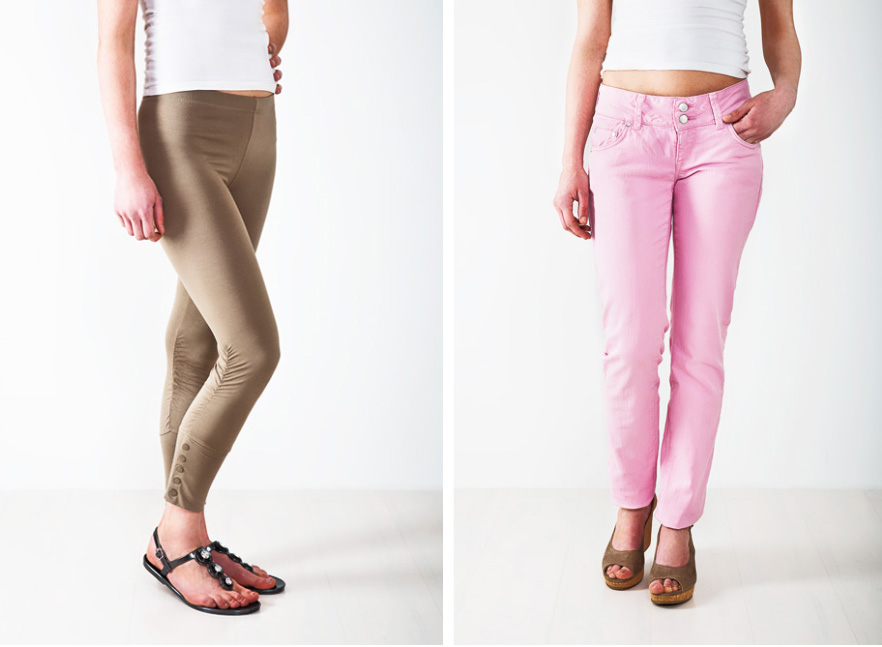 Fashion photography - woman legs wearing pink and brown legging jeans