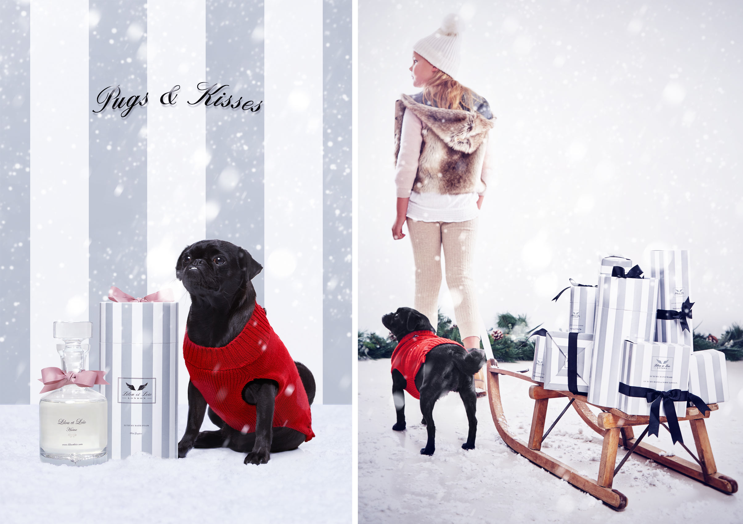 Product photographer - dog, product and xmas present on a sleigh with teenager.  Photographed in studio for beauty product company.  London