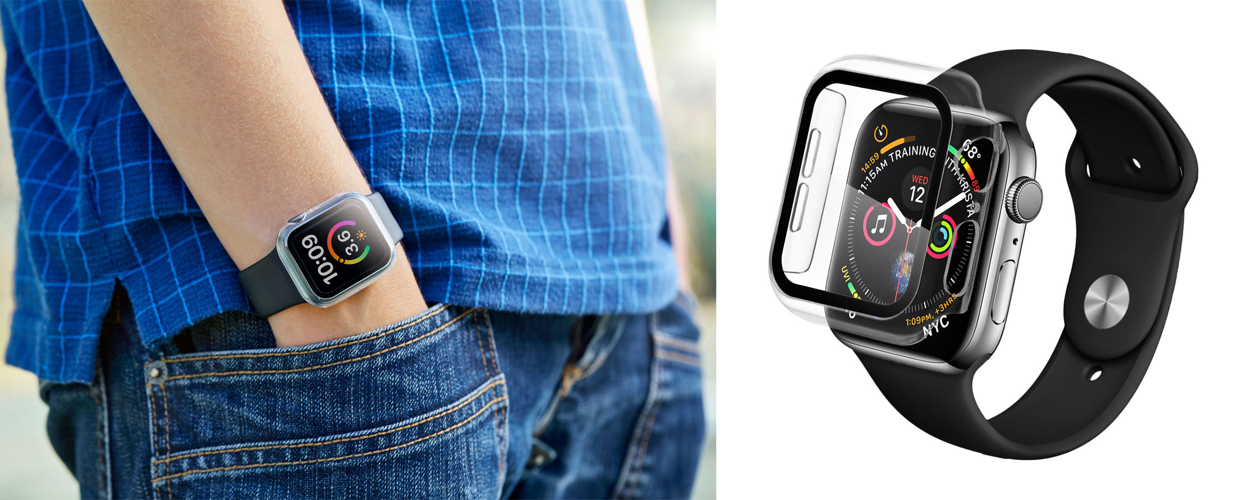 Product photographer - boy standing wearing apple watch with protector attached.  Photographed on location in Sussex, UK