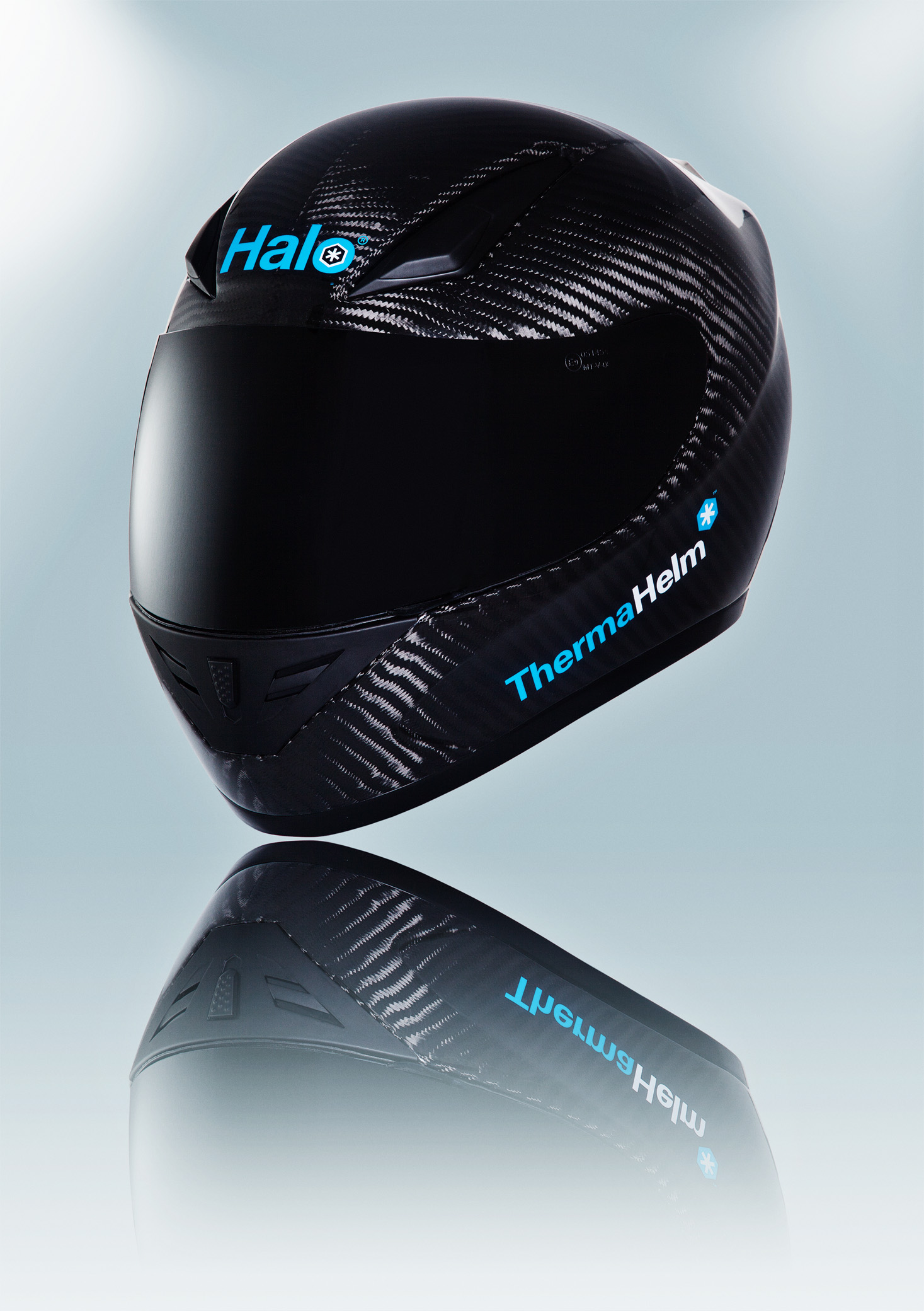 Product photography - carbon fibre motorcycle helmet shot in the studio