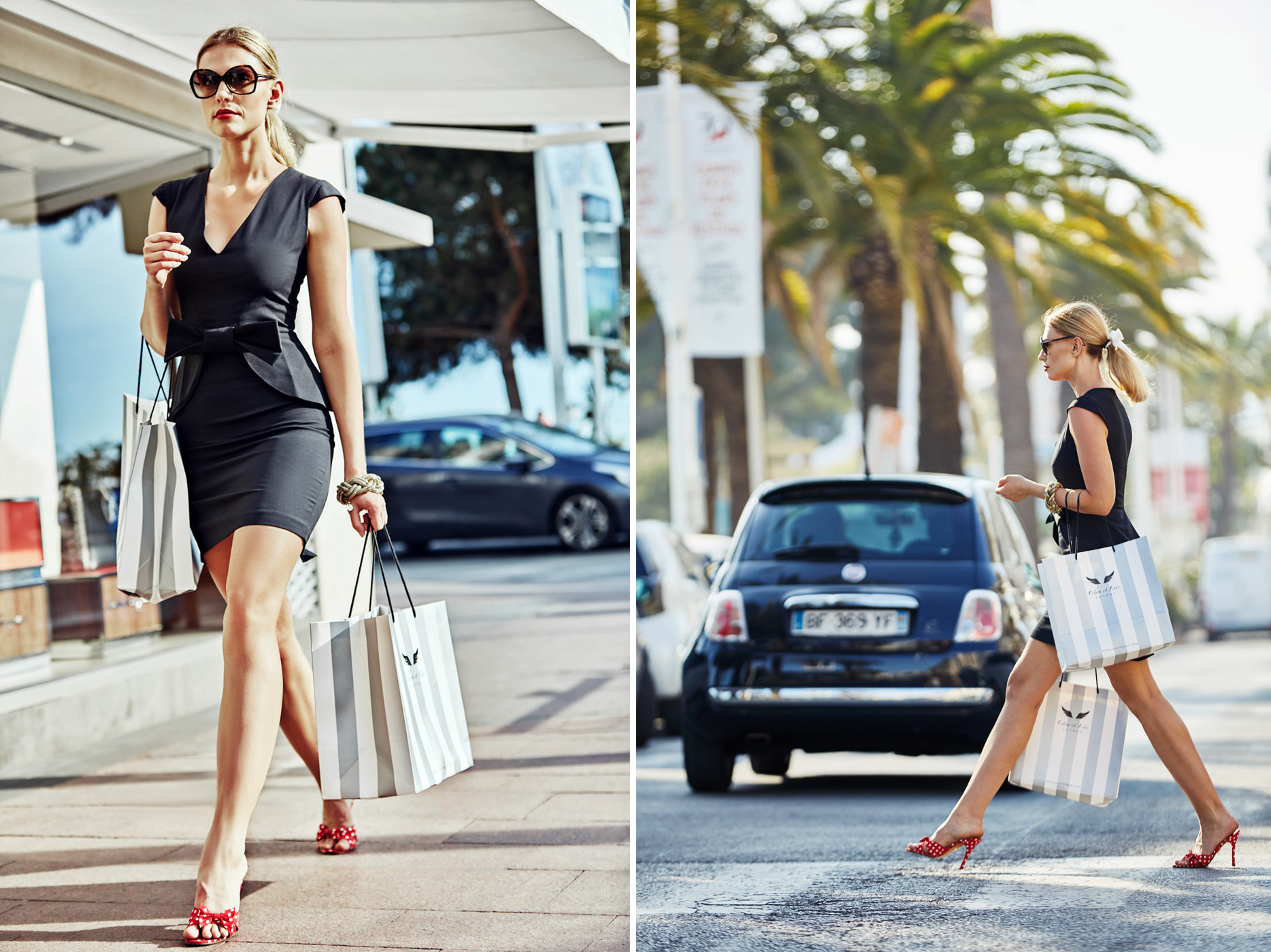 Lifestyle photographer - stylish woman walking in Cannes, France carrying shopping bags.  Photographed on Location in Cannes, France for beauty brand.